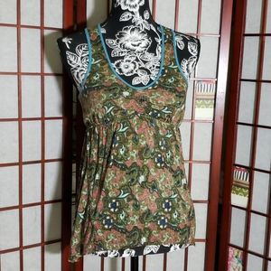 Free People green floral tank M